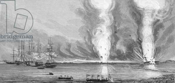 """FIRST OPIUM WAR, 1841 'Attack on the First Bar Battery, Canton River."""" The naval battle at First Bar Island in the Canton River, China, between the British and Chinese, during the First Opium War, 27 February 1841. Line engraving, British, 1843."""