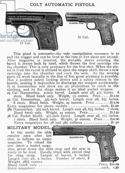 COLT AUTOMATIC PISTOLS Page from an Abercrombie and Fitch catalog advertising Colt automatic pistols, early 20th century.