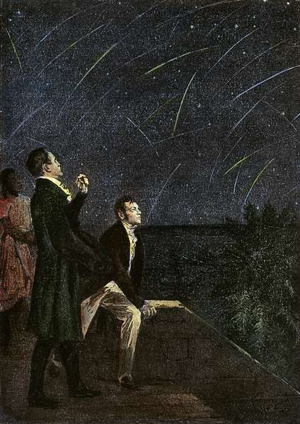 METEOR SHOWERS, 1799 Alexander von Humboldt and Aimé Bonpland observing a meteor shower on the northeastern coast of South America in 1799. Illustration, late 19th century.