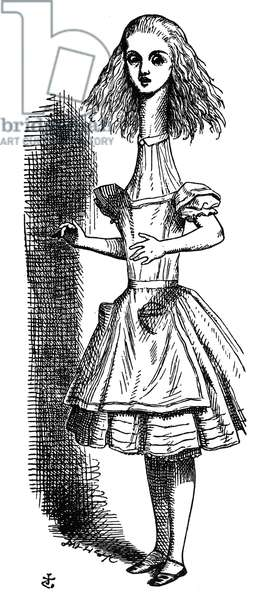 "CARROLL: ALICE, 1865 '""Curiouser and curiouser!""' cried Alice as she opened out like the largest telescope that ever was.' Wood engraving after Sir John Tenniel from the first edition of Lewis Carroll's 'Alice's Adventures in Wonderland,' 1865."