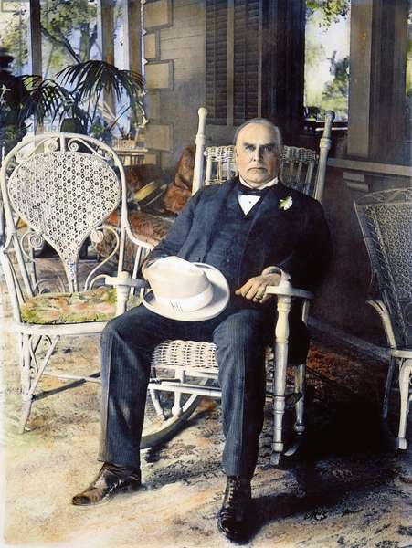 WILLIAM McKINLEY (1843-1901). President William McKinley (1843-1901) on the porch of his home in Canton, Ohio: oil over a photograph, 1899.