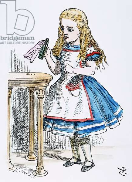 CARROLL: ALICE, 1865 Alice finds the bottle labled 'Drink Me.' Illustration by John Tenniel from the first edition of Lewis Carroll's 'Alice's Adventures in Wonderland,' 1865.