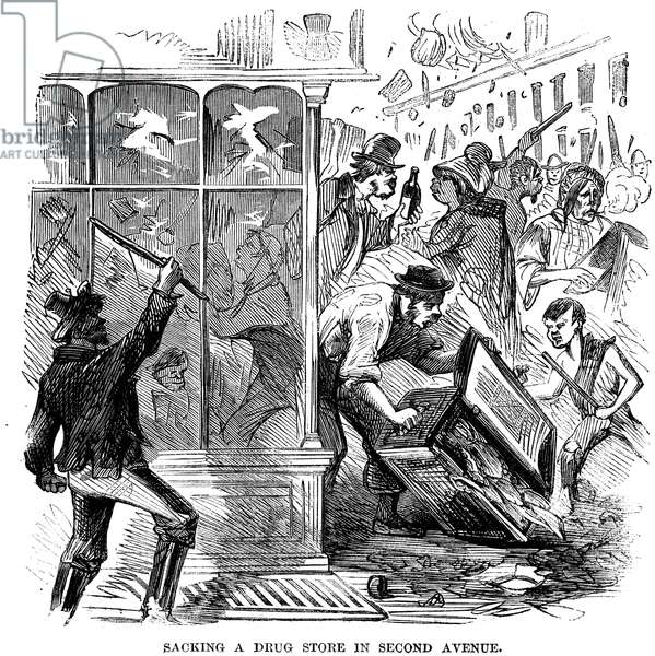 NEW YORK: DRAFT RIOTS 1863 An angry mob sacking a 2nd Avenue drug store during the New York City Draft Riots of 13-16 July 1863. Contemporary engraving.