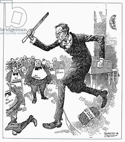 WILSON AND BIG BUSINESS President Woodrow Wilson, a former professor, going after big business with a ruler rather than with the 'Big Stick' of former president Theodore Roosevelt. American cartoon, c.1913-14, by Robert Carter.
