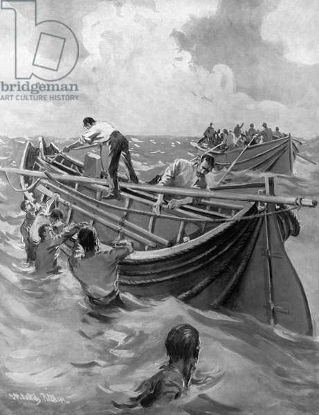 TITANIC: LIFEBOATS, 1912 Men opening up the folding lifeboats of the 'Titanic' after being lowered into the ocean. English illustration, 1912.