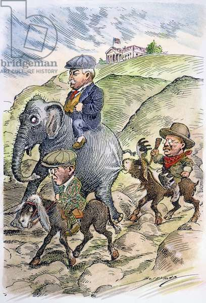 PRESIDENTIAL CAMPAIGN, 1912 In the 1912 presidential campaign, Republican William Taft, Democrat Woodrow Wilson and Theodore Roosevelt, the Progressive or 'Bull Moose' candidate, start off on the rough road in the three-way race to the White House. Contemporary cartoon by Clifford Berryman.