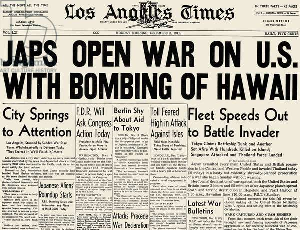PEARL HARBOR HEADLINE 1941. The front page of the Los Angeles Times, 8 December 1941, announcing the Japanese attack on Pearl Harbor the previous day.