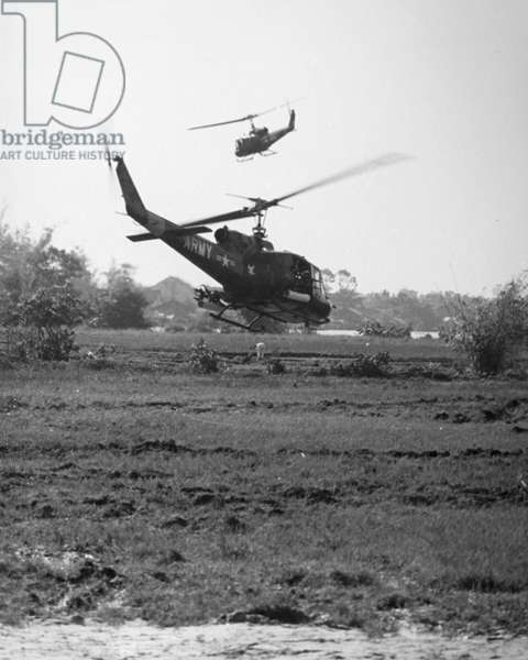 VIETNAM WAR: HELICOPTERS U.S. Army UH-1B helicopters on search for Viet Cong in South Vietnam, mid-1960s.
