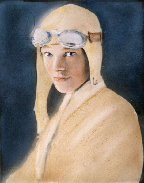 AMELIA EARHART (1897-1937) American aviator. At age 30. Oil over a photograph, 1928.