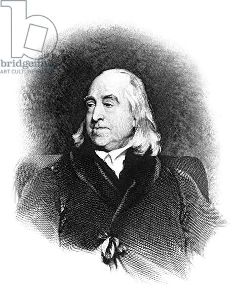 JEREMY BENTHAM (1748-1832) English jurist and philosopher. Steel engraving after a painting, 1829, by Henry William Pickersgill.