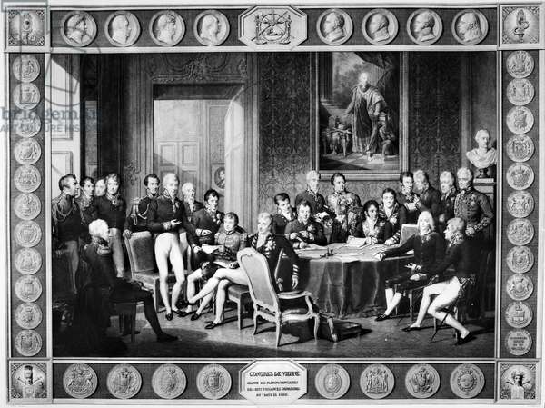 CONGRESS OF VIENNA, 1815 Arthur Wellesley, Duke of Wellington, stands at the extreme left; Prince Klemens von Metternich stands sixth from the left; Robert Castlereagh is seated at center, and Prince Charles Talleyrand is seated second from the right. Painting by Jean Baptiste Isabey, 1819.