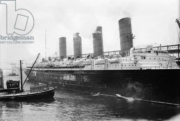 NEW YORK: LUSITANIA The Cunard steamship 'Lusitania' at New York Harbor, c.1910-15.