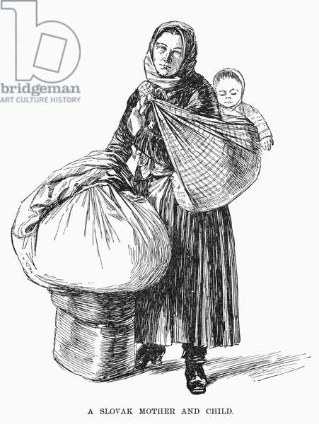 SLOVAK IMMIGRANT, 1892. A Slovak mother with her child at the first Ellis Island immigration building, New York. Wood engraving, American, 1892.