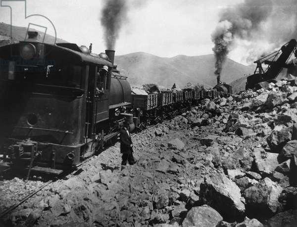 UTAH: MINING, c.1900 Copper mining at the Boston Consolidated Mine in Bingham, Utah. Photograph, c.1900.