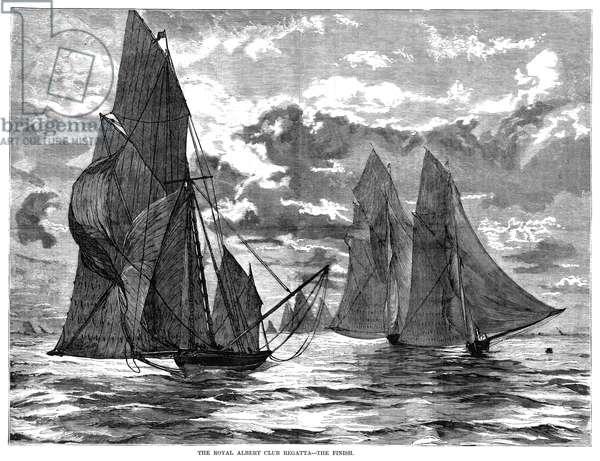 YACHTING, 1874 'The Royal Albert Club Regatta - The finish.' Engraving, 1874.