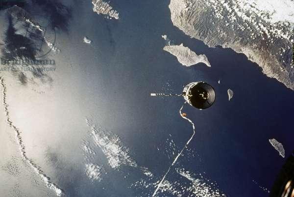 GEMINI II Tethered Agena TVD over Gulf of California, 14 September 1966.