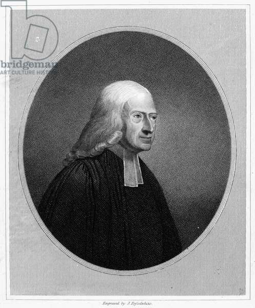 JOHN WESLEY (1703-1791) English theologian and founder of Methodism. Line and stipple engraving.