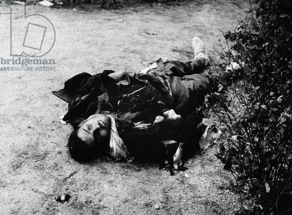 SPANISH CIVIL WAR, c.1937 A dead soldier during the Spanish Civil War. Photograph by James Abbe, c.1937.