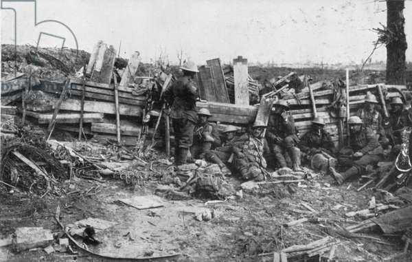 WWI: BRITISH ARMY/SOMME A road barricade erected on newly won ground in Somme, France, late Oct. 1916.