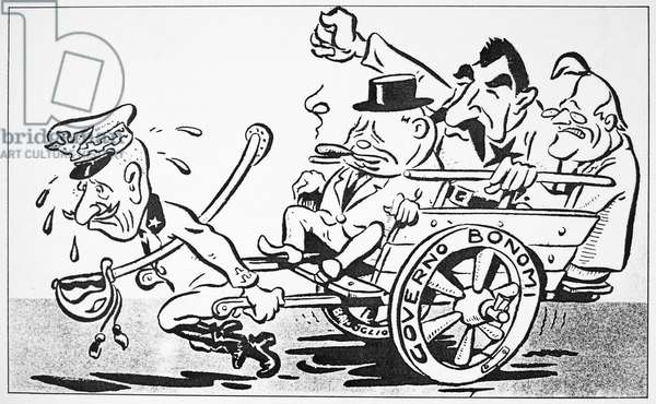 F.D. ROOSEVELT CARTOON 'The Trio of...Corporals' - King Victor Emmanuel of Italy pulls Allied leaders English Prime Minister Winston Churchill, Russian Dictator Joseph Stalin and American President Franklin D. Roosevelt in a carriage. Cartoon, c.1943, by Angiolini, published in 'Barbagiani,' Milan, Italy.