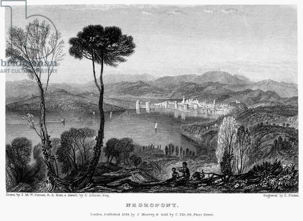 GREECE: EURIPUS STRAIT View of the Euripus Strait from the Aegean island of Euboea, looking towards the city of Chalcis and its connection to the Greek mainland at Negropont. Steel engraving, English, 1834, by Edward Finden after Joseph Mallord William Turner.