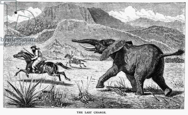SAMUEL WHITE BAKER (1821-1893). English explorer. Being charged by an elephant while on a hunting expedition during his travels in East Africa, c.1864. Wood engraving, English, 1866.
