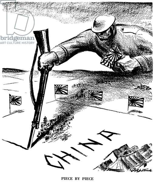 JAPAN: IMPERIALISM, 1937 'Piece by Piece.' American cartoon on Japan's expansionism in Asia, which began the second Sino-Japanese War. Cartoon by D.R. Fitzpatrick, 1937.
