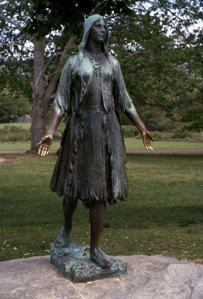POCAHONTAS (c1595-1617) Native American princess. Bronze statue by William Ordway Partridge at Jamestown National Historic Site, Virginia, erected in 1922. Photographed in 2006.