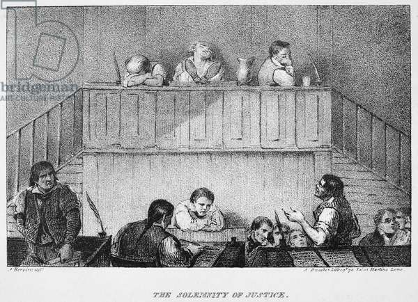 SOLEMNITY OF JUSTICE Lithograph illustration, 1832, from the first American edition of Mrs. Frances Trollope's 'Domestic Manners of the Americans.'