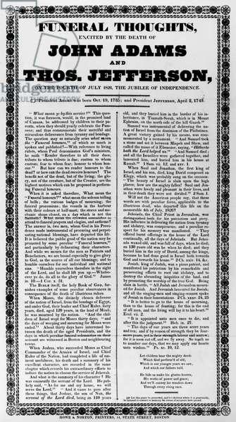 ADAMS & JEFFERSON FUNERAL Broadside on the deaths of John Adams and Thomas Jefferson, 1826.