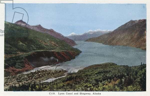 ALASKA: LYNN CANAL, c.1930 View of Lynn Canal and Skagway, Alaska. Postcard, American, c.1930.