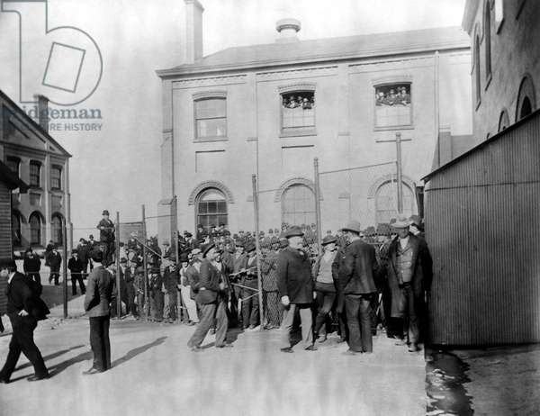 ELLIS ISLAND: QUARANTINE Immigrants crowded into a quarantine area at Ellis Island, New York City. Photograph, late 19th or early 20th century.