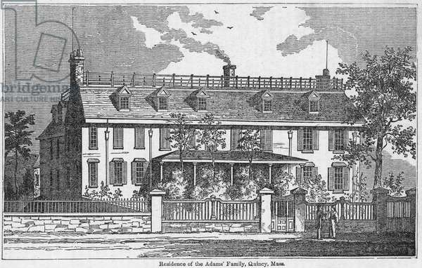 ADAMS RESIDENCE Peacefield, or the Old House, the Adams home in Quincy, Massachusetts, residence of President John Adams from 1788 until his death in 1826 and subsequently passed on to his son, President John Quincy Adams, and their heirs. Wood engraving, American, 19th century.