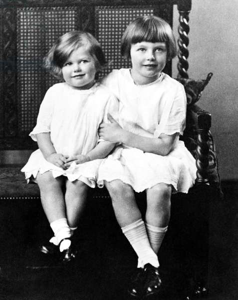 MARGARET THATCHER (1925-2013). English politician. Thatcher (left) at the age of four with her sister Muriel, age eight. Photographed in 1929.