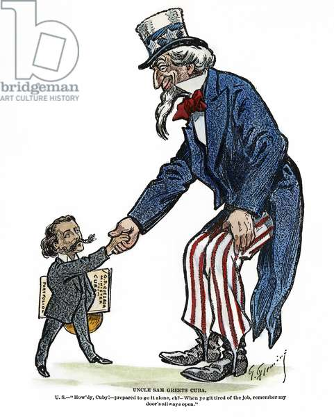 UNCLE SAM, 1902 'Uncle Sam greets Cuba.' Cartoon by Thomas Fleming, 1902.