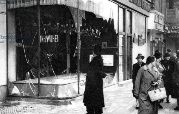 KRISTALLNACHT POGROM Smashed windows of a Jewish shop in Berlin, Germany, the aftermath of the Kristallnacht pogrom of 9-10 November 1938.