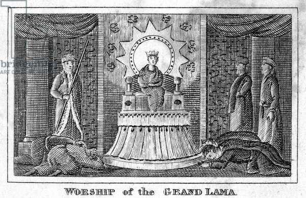 TIBET: GRAND LAMA, 1832 'Worship of the Grand Lama.' Line engraving, American, 1832.