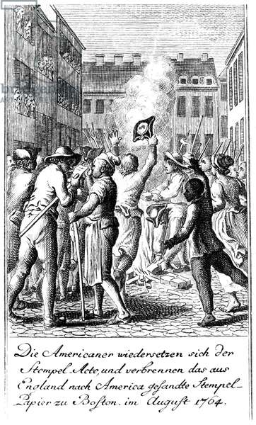 ANTI-STAMP ACT, BOSTON, 1765 Bostonians protesting the Stamp Act by burning the stamps in a bonfire. German engraving by Daniel Chodowiecki, 1784.
