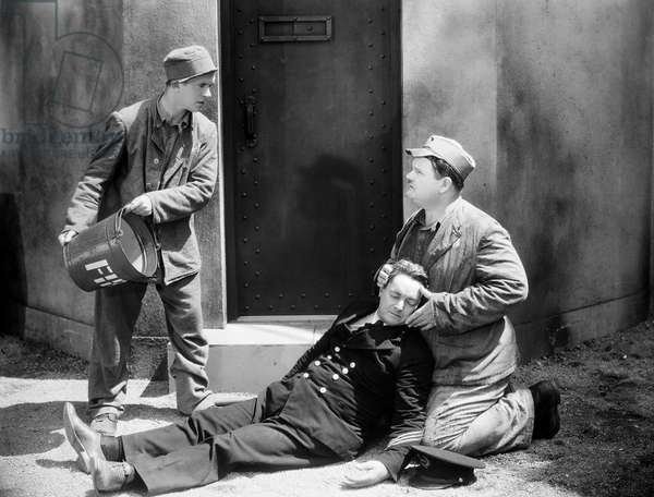 LAUREL AND HARDY, 1931 Stan Laurel (left) and Oliver Hardy (right) in a scene from 'Pardon Us' (originally entitled 'The Rap'), 1931.