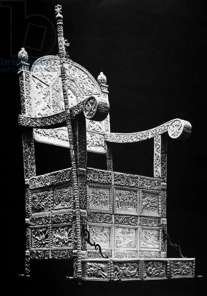 RUSSIA: THRONE OF IVAN IV Wood-framed throne covered with carved ivory plates depicting scenes from mythology, heraldry, history and everyday life. Owned by Ivan IV of Russia, called Ivan the Terrible. Constructed early 1500s.