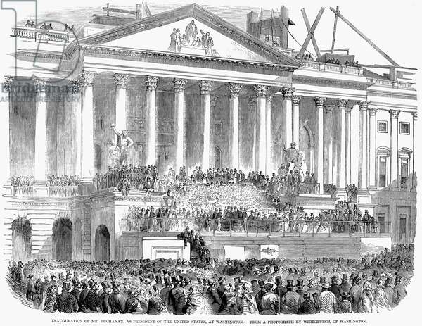 JAMES BUCHANAN, 1857 The Inauguration of James Buchanan as 15th President of the United States on 4 March 1857 at Washington, D.C. Wood engraving from a contemporary newspaper.