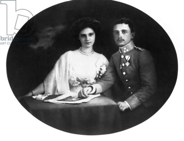 KARL I OF AUSTRIA (1887-1922) The last Emperor of Austria, and the last monarch of the Habsburg Dynasty. He reigned as Emperor Karl I of Austria, King Charles III of Bohemia and King Charles IV of Hungary from 1916 until 1918. Betrothal portrait with Princess Zita of Bourbon-Parma, 1911.