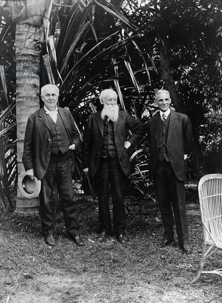 THOMAS EDISON (1847-1931) American inventor. Photographed with John Burroughs, and Henry Ford at Edison's home in Ft. Myers, Florida, c.1914.