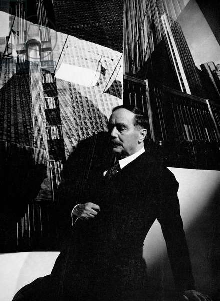 HERBERT GEORGE WELLS  (1866-1946). English writer. Photographed by Edward Steichen during the filming of Wells' futuristic novel, 'The Shape of Things to Come,' in 1935.