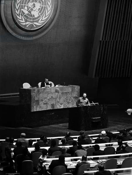 FIDEL CASTRO (1926- ) Cuban revolutionary leader. Castro addressing the General Assembly of the United Nations in New York City, 1960.