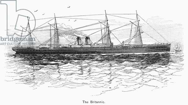 BRITANNIC, 1874 The first of White Star Line's three passenger ships named 'Britannic,' launched in 1874. Contemporary wood engraving.