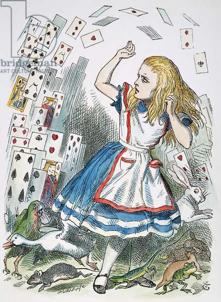 ALICE IN WONDERLAND, 1865. 'Who cares for you?' said Alice (she had grown to her full size by this time). 'You're nothing but a pack of cards!'. Illustration by Sir John Tenniel from the first edition of Lewis Carroll's 'Alice's Adventures in Wonderland,' 1865.