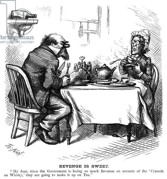 TEMPERANCE MOVEMENT, 1874 'Revenge is Sweet.' Cartoon of a man telling his wife that since whiskey sales have dropped because of the temperance movement, the government will begin taxing tea. Cartoon by Thomas Nast, 1874.