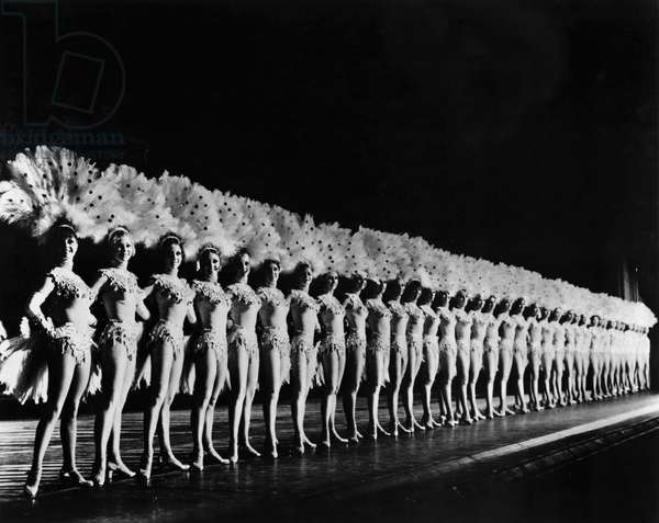 NEW YORK: ROCKETTES The Rockettes dance group performing at Radio City Music Hall in New York City. Photograph, mid 20th century.