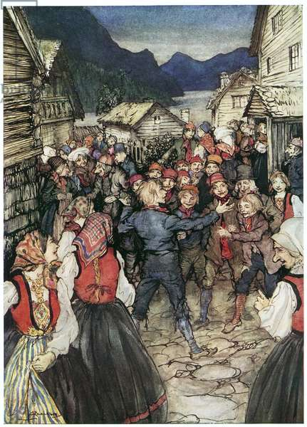IBSEN: PEER GYNT. Peer among the Wedding Guests. Illustration by Arthur Rackham (1867-1939).
